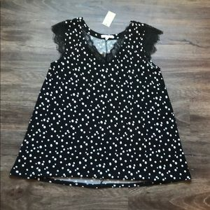 🆕 NWT Maurices Polka Dot with Lace Blouse